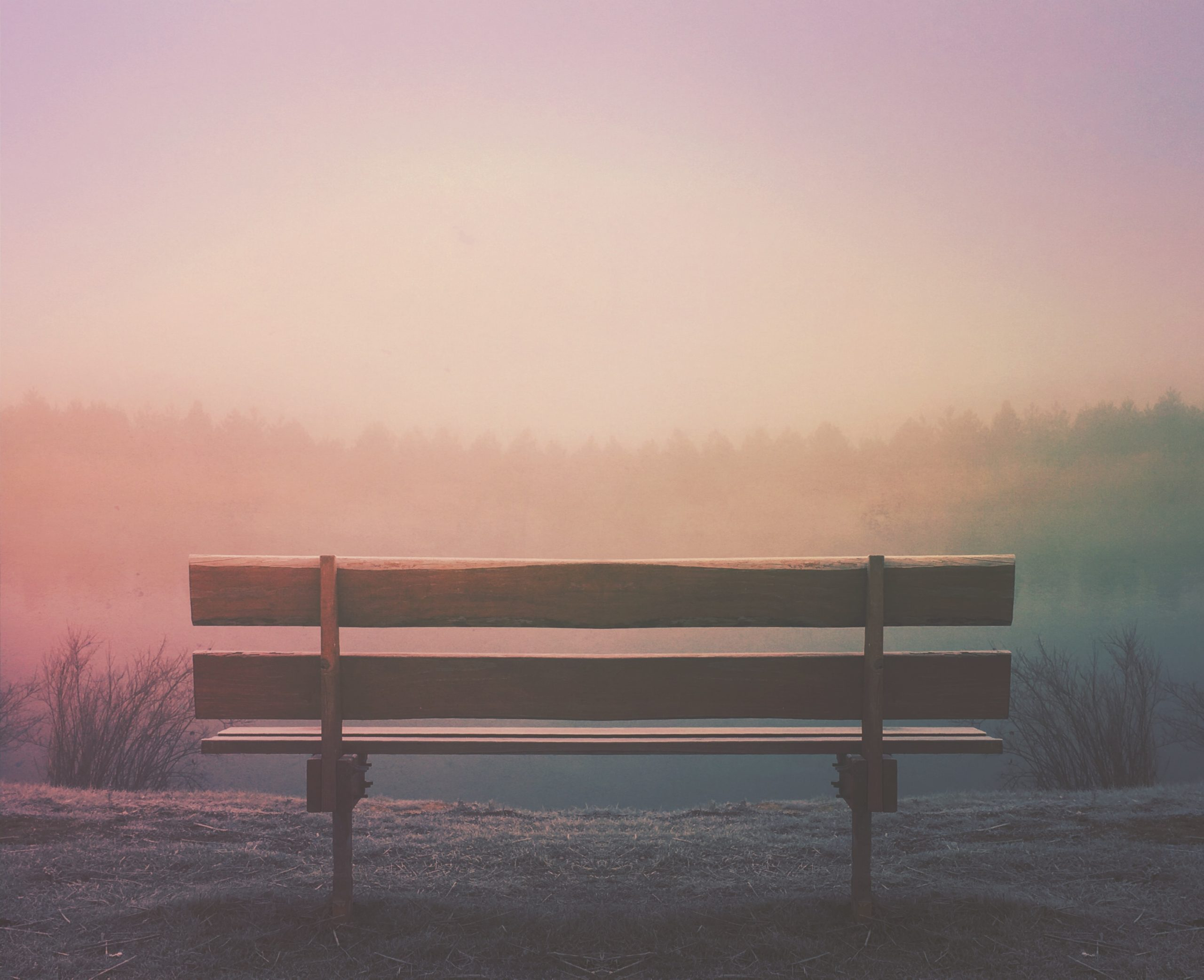 empty bench facing a sunset