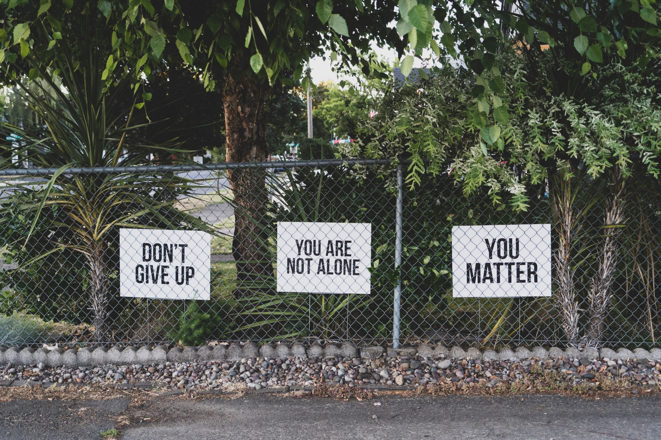 signs saying dont give up and you matter